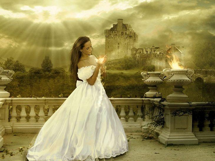 Картинки девушки на фоне замков