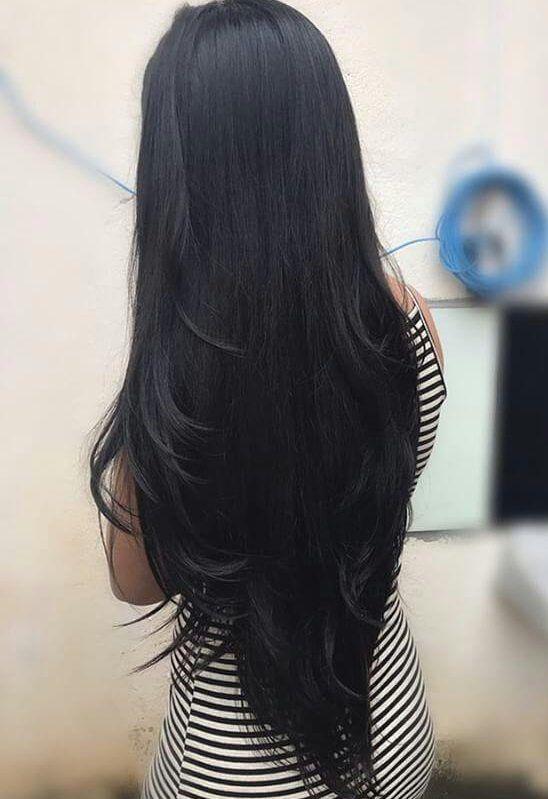 Картинки длинные черные волосы