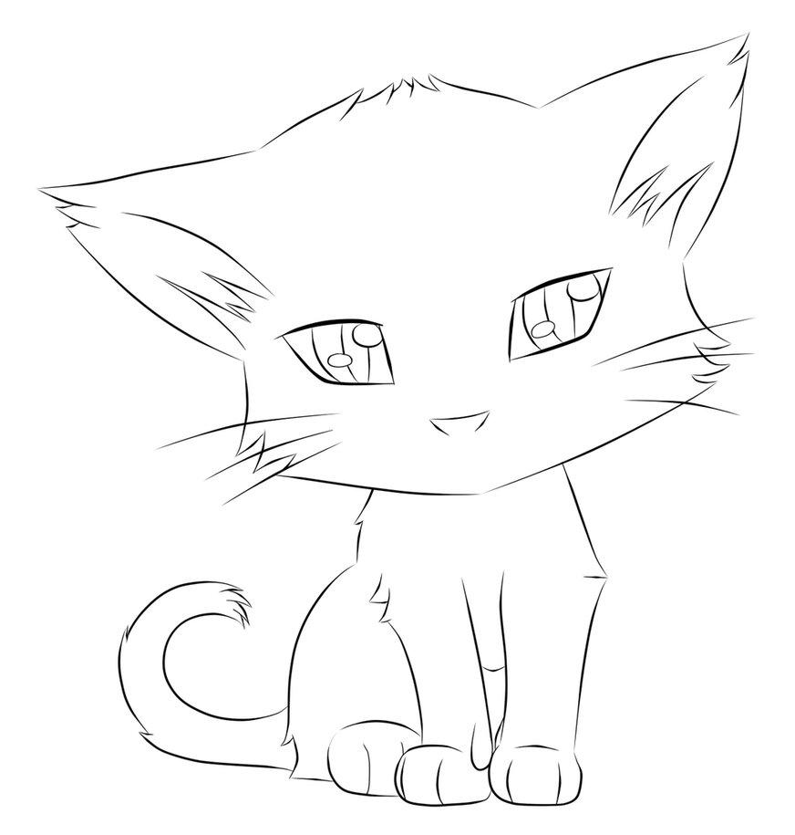 Картинки кота легкого срисовать