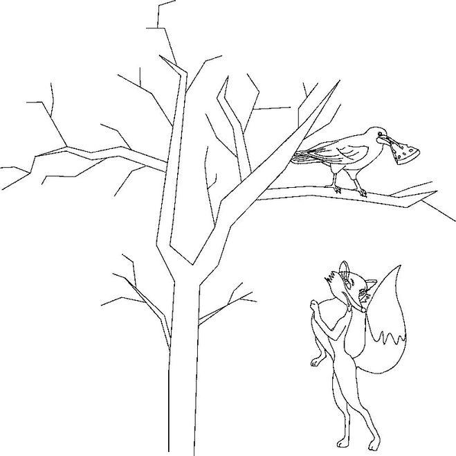 оформленные картинка сказки лиса и ворона черно белая белом унитазе они