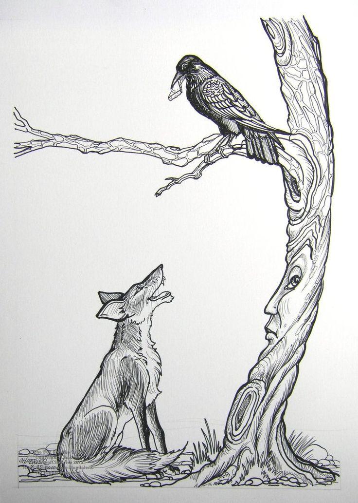 Рисунок лиса и ворона карандашом