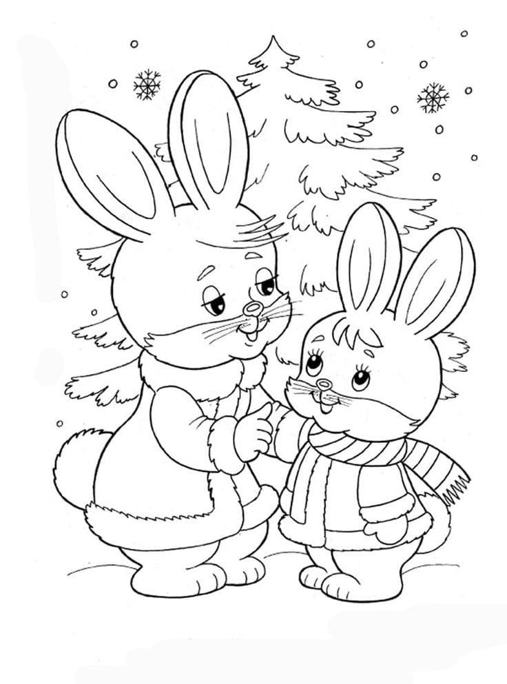 Картинки елочки и зайчика