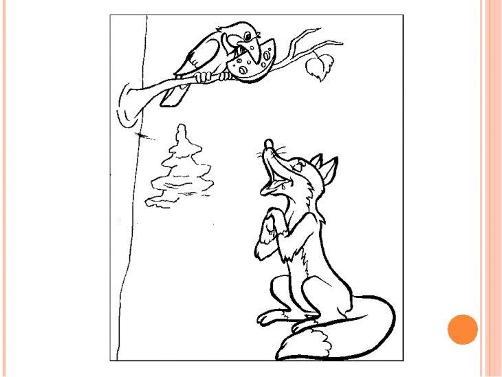 Картинки ворона и лисица раскраска
