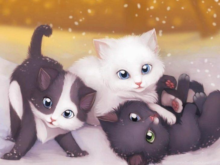 Картинки про аниме зверей няшек котят