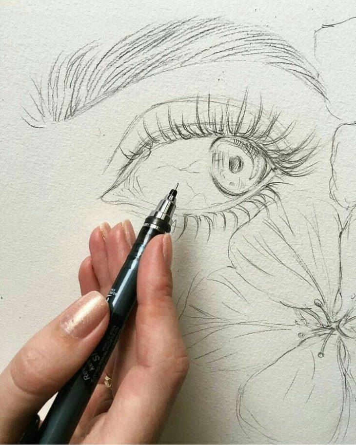 рисунки карандашом любые хорошие цветов форме