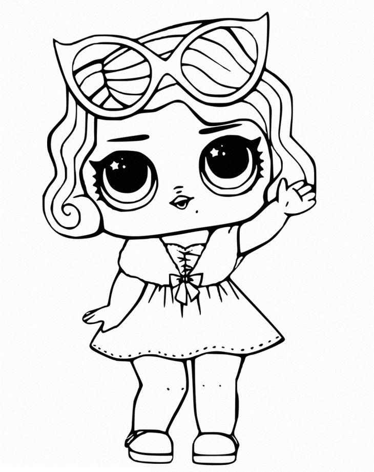Рисунки куклы лол распечатать черно белые