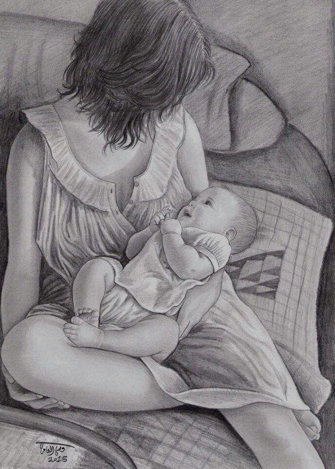 Мать и ребенок картинка карандашом